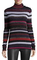 Diane von Furstenberg Leela Metallic Button-Neck Sweater, Royal Navy Stripe