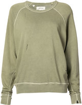 The Great distressed crew neck sweatshirt - women - Cotton - 1