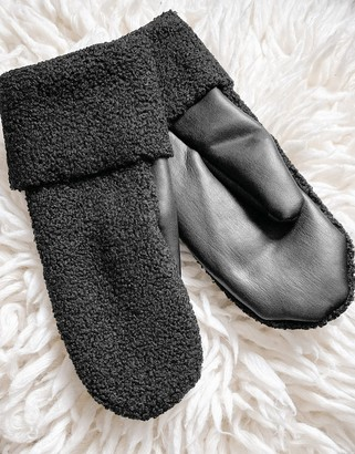 Weekday Cheerio boucle and faux leather mittens in black