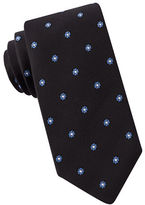Black Brown 1826 Narrow Geometric Dotted Embroidered Tie