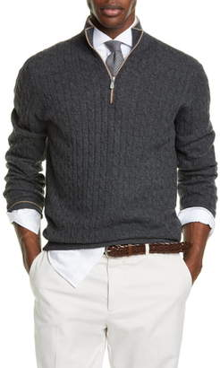 Brunello Cucinelli Slim Quarter Zip Cashmere Sweater