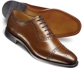 Charles Tyrwhitt Brown Clarence Toe Cap Brogue Shoes Size 7.5