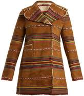 Valentino Reversible double-breasted striped shearling coat