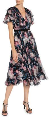 Erdem Garland Dusk Bouquet Georgette Flutter-Sleeve Dress