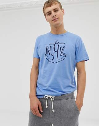 J.Crew Mercantile ny anchor print t-shirt in blue marl