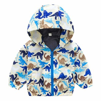 Lovekider Windproof Hooded Coat for Boys Lightweight Cartoon Jacket with Pockets Lovely Cartoon Printed Outerwear Outfits for Autumn Spring Windy Day Infants Toddler Girls Baby