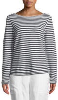 Eileen Fisher Striped Long-Sleeve Organic Linen/Cotton Sweater, Plus Size