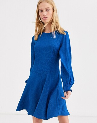 And other stories & balloon sleeve jacquard skater dress in blue