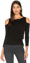 Michael Stars 2x1 Rib 3/4 Sleeve Cold Shoulder Top