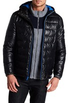 Cole Haan Quilted Faux Leather Hooded Puffer Jacket