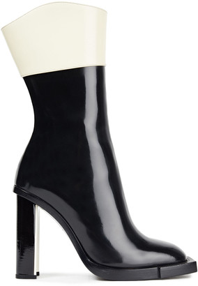 Alexander McQueen Two-tone Glossed-leather Ankle Boots