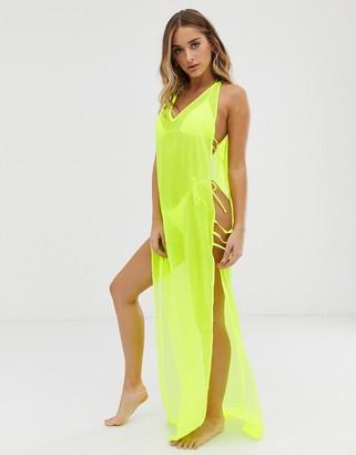 Asos Design DESIGN maxi beach dress with lattice side in neon yellow