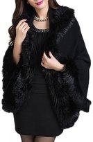 AmelieDress Women's Winter Thicken Faux Fur Shawl Stole Cape Wraps for Bride