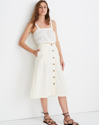 Madewell Eyelet Patio Button-Front Midi Skirt