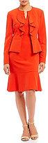 Albert Nipon Ruffle-Front 2-Piece Dress Suit
