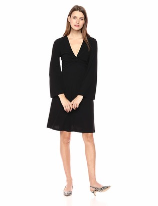 London Times Women's Long Sleeve Twist Front Crepe FIT and Flare Dress