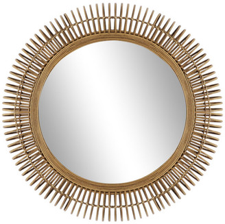 Brimfield And May Large Round Natural Wicker Wall Mirror