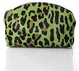LAI Green Pony Hair Leopard Print Zipper Close Small Clutch Handbag
