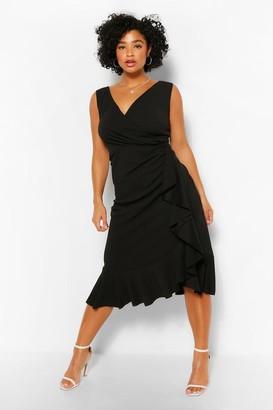 boohoo Plus Bardot Ruffle Wrap Midi Dress