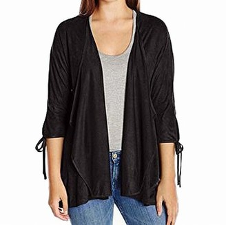 Colourworks Colour Works Women's 3/4 Sleeve Suede Open Cardigan