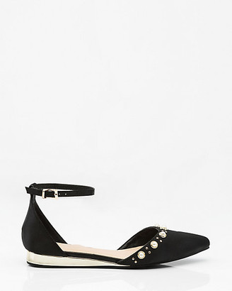 Le Château Pearl Embellished Pointy Toe d'Orsay Flat