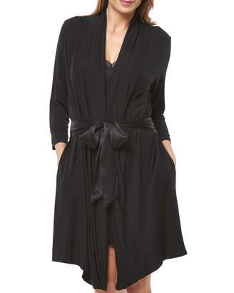Fleurt Fleur't Take Me Away Short Jersey Robe w/ Silk Ties