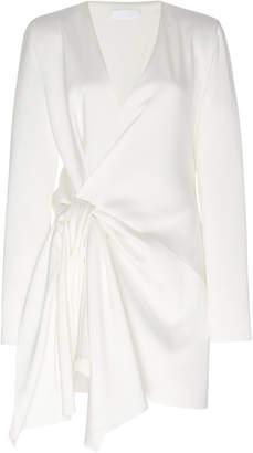 UNTTLD Satin Decollete Long Sleeve Cocktail Dress