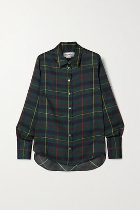 Monse Harris Cutout Draped Tartan Satin-twill Shirt - Forest green