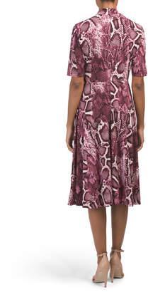 Mock Neck Elbow Sleeve Snake Pattern Dress