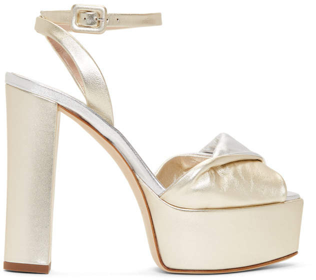 Giuseppe Zanotti Gold and Silver Sahara Platform Sandals