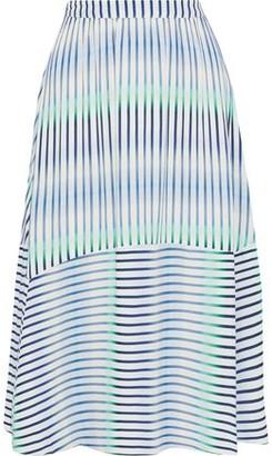 Iris & Ink Cicely Degrade Striped Crepe Midi Skirt