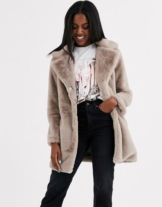 Brave Soul clare faux fur coat-Brown