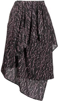 Christian Wijnants Abstract-Print Asymmetric Skirt