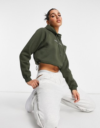 Calvin Klein Jeans front logo cropped hoodie in khaki