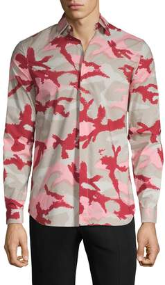 Valentino Camouflage-Print Long-Sleeve Shirt