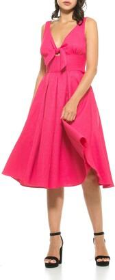 Alexia Admor Karina V-Neck Front Tie Dress