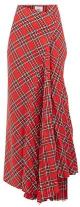 A.W.A.K.E. Mode Sahmain Draped Tartan Twill Skirt - Womens - Red