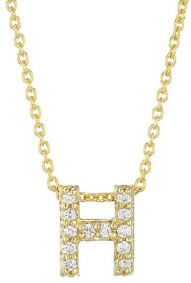 Roberto Coin Tiny Treasures Diamond & 18K Yellow Gold Letter H Pendant Necklace