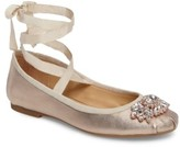Badgley Mischka Women's Karter Ii Embellished Ankle Wrap Ballet Flat
