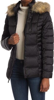 Nautica Faux Fur Hood Short Puffer Jacket