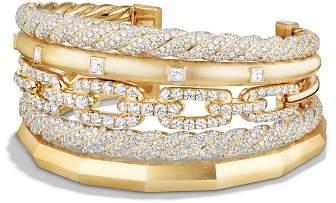 David Yurman Stax Five Row Cuff Bracelet with Diamonds in 18K Gold