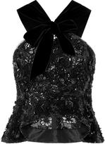 Oscar de la Renta Embroidered Lace and Organza Blouse