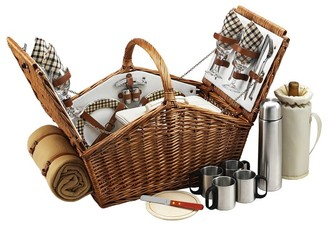 Pottery Barn Winslow Woven Willow Picnic Basket, Set for 4