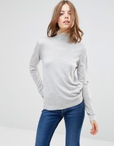 Minimum Eve Wool & Cashmere Mix Roll Neck Sweater In Light Gray