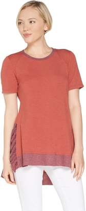 LOGO Lounge by Lori Goldstein French Terry Top with Rib Ruffle Detail