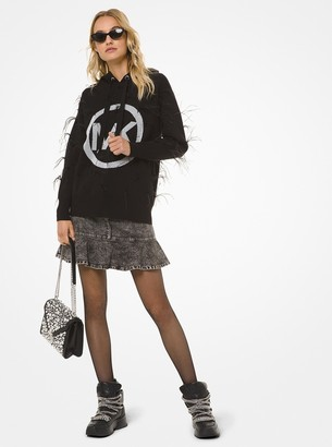 MICHAEL Michael Kors Feather-Embroidered Logo Hoodie