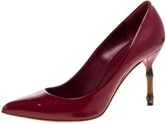 Gucci Fuchsia Patent Leather Kristen Bamboo Heel Pointed Toe Pumps Size 37.5