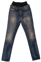 R 13 2015 Leather-Accented Jeans w/ Tags
