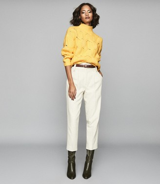 Reiss Eta - Funnel Neck Knitted Jumper in Yellow
