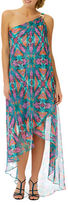 Laundry by Shelli Segal Abstract Print Chiffon One-Shoulder Dress